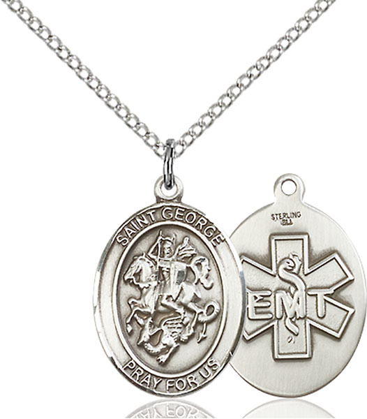 St. George / EMT Pendant St. George / Emt ,Boy Scouts and Soldiers,Unusual & Specialty,EMT, sterling silver medals, gold filled medals, patron, saints, saint medal, saint pendant, saint necklace, 8040,7040 EMT,9040 EMT,
